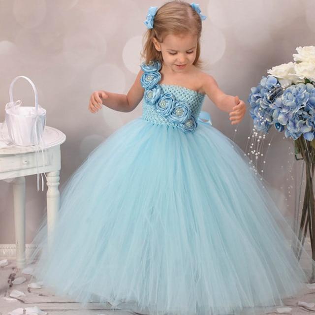 Милое голубое платье в цветочек для девочек новый дизайн свадебное платье украшение из роз детское платье с пышной юбкой платье для праздничных торжеств праздничная одежда