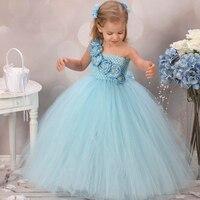 New Design Cute Blue Flower Girls Dresses For Wedding Rose Flower Kids Tutu Dresses Pageant Party