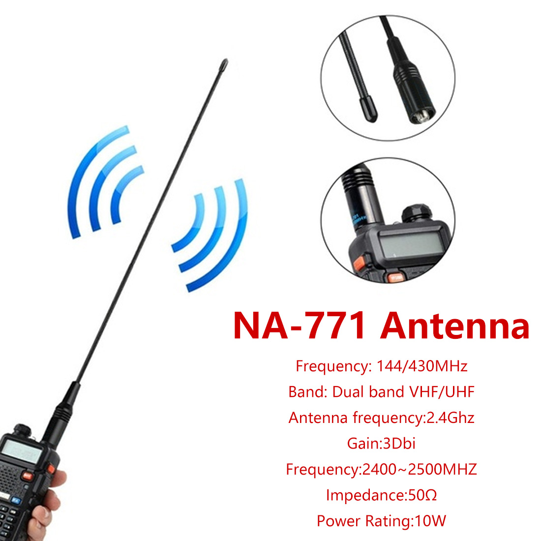 VHF/UHF 144/430MHZ 2.15/3.0DB Two Way Radio  NA-771 NA771 SMA-F SMA  Female Dual Wide Band Flexible Antenna