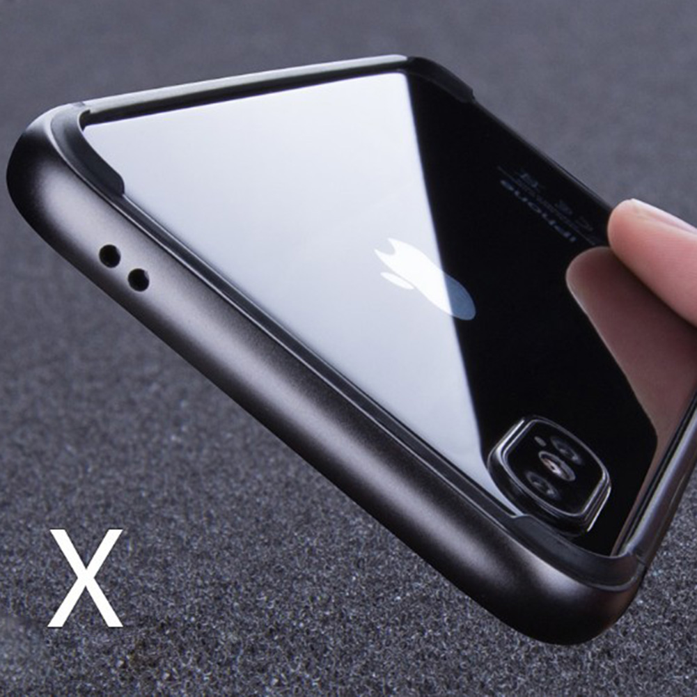 Jetjoy For Apple iPhone X Ten 10 Case Hybrid Alumium Metal Rug Silicone Frame Clear Glossy Plane Armor Cases Covers ...