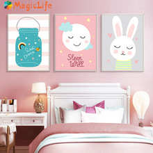 Kids Room Rabbit Animal Print Wall Art Canvas Painting Sweet Dream Nordic Posters Pink Girl Decor painting Unframed