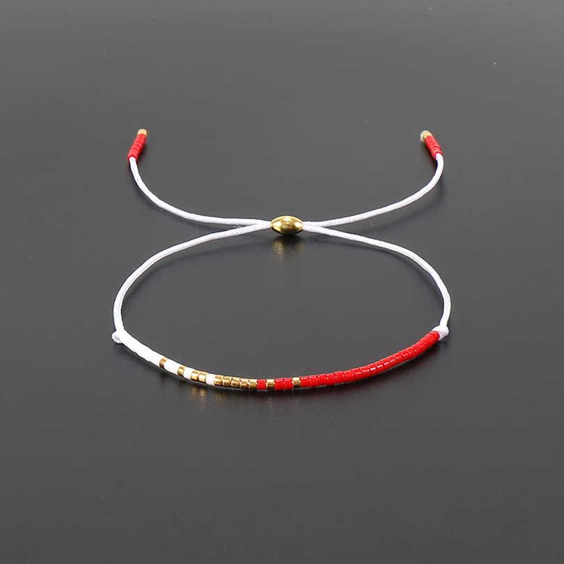 G.YCX Minimalism Boho Red Miyuki Seed Beads Bracelet for Women Men Lovely Handmade Lucky Bracelets Popular Mix Colors Jewelry