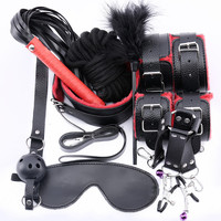 2019 New 10 Pcs / Set Sex Toys For Adults Bdsm Bondage E Fetish Mask Handcuffs Nipple Clamps Mouth Gag Bdsm Mask Whip For Women