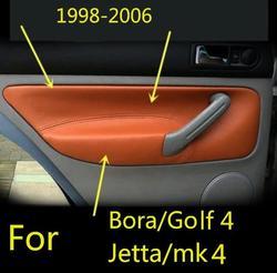 Capa de couro para apoio de braço, painéis de porta frontal/traseira de microfibra para vw golf 4 bora jetta mk4 1998 -2006 com conexões