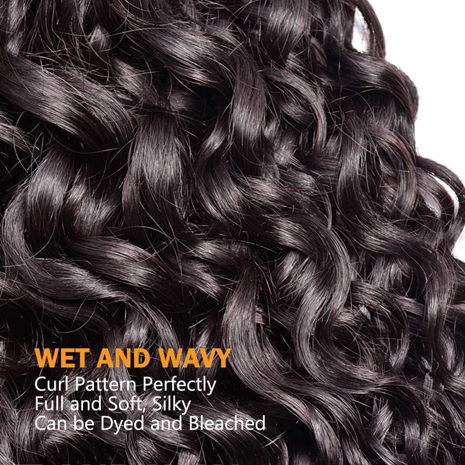 Бразильская холодная завивка волос Связки Солнечный свет человеческих волос Плетение Пучки Волос натуральные пучки волос влажная волна наращивание 1B # Волосы remy 1/3/4 шт.