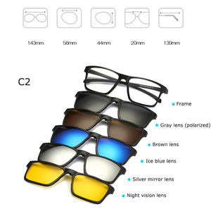 Image 4 - Fashion Optical Spectacle Frame Men Women Myopia With 5 Clip On Sunglasses Polarized Magnetic Glasses For Male Eyeglasses RS219