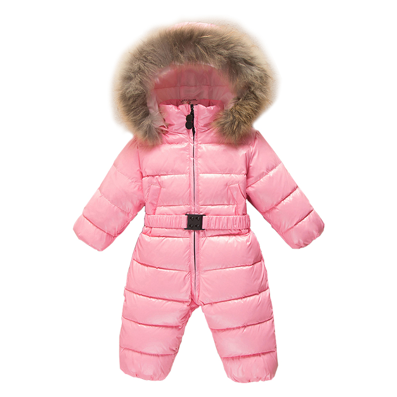 New Toddler Baby Clothes Enfant Duck Down Romper Infant Overalls Fur Collar Boys Girls Snowsuit Children Snow Wear Jumpsuit E163 2018 new baby rompers baby boys girls clothes turn down collar baby clothes jumpsuit long sleeve infant product solid color