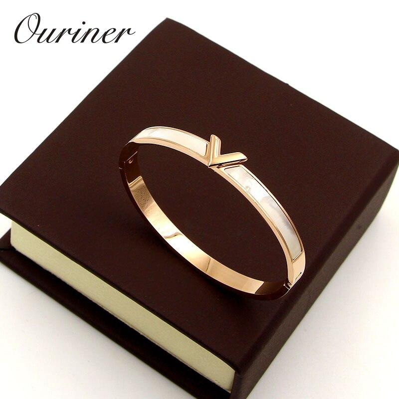 Marca de luxo concha natural v forma pulseira & bangle para mulher charme oco carta pulseira amor prata-cor pulseiras K088-1