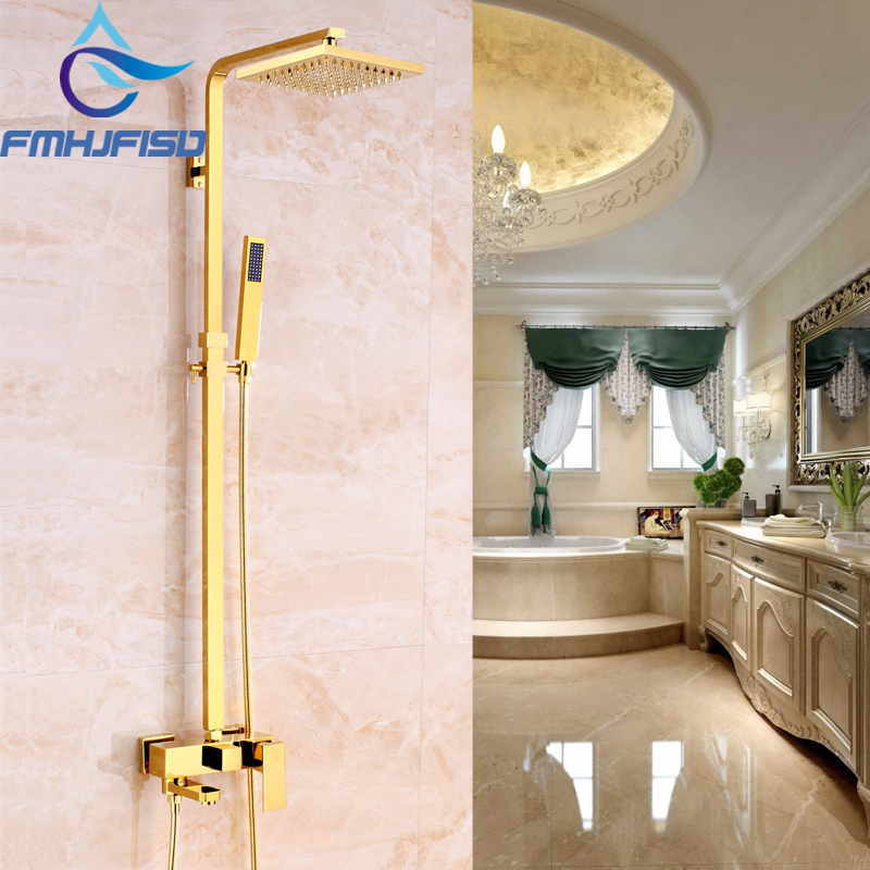 Luxury Gold Finish Bathroom Shower Mixer Faucet with 8 Brass Shower Head Shower Water Taps