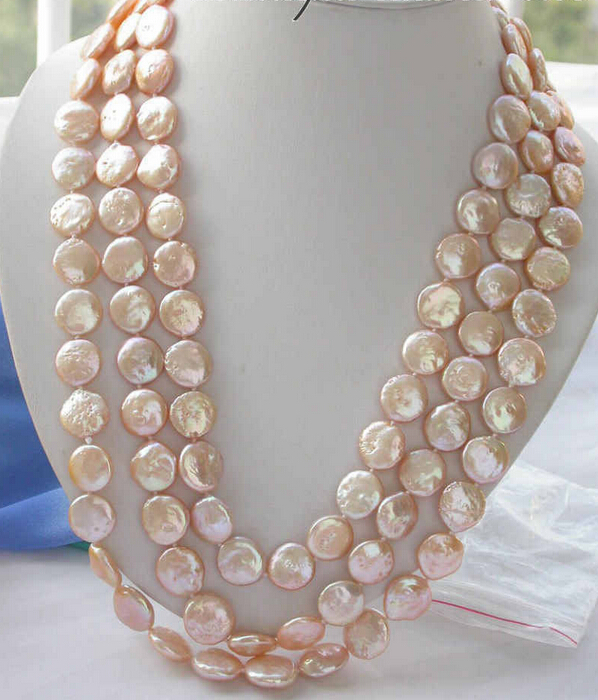 Free shipping >>>>>z3402 REAL 65 14mm pink coin freshwater pearl necklaceFree shipping >>>>>z3402 REAL 65 14mm pink coin freshwater pearl necklace