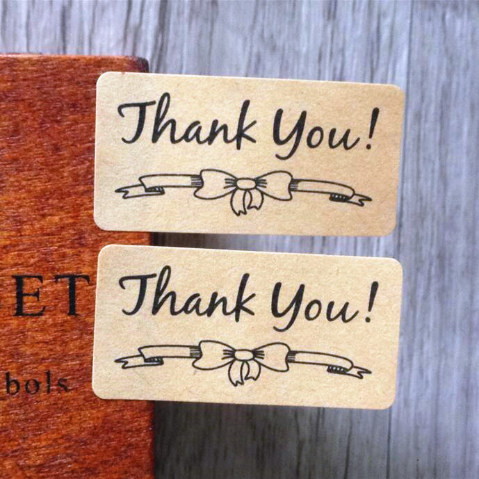 120pcs  Thank You DIY Sealling Label For Handmade Products Nice Kraft Paper Adhesive Baking Cake Package Seal Sticker