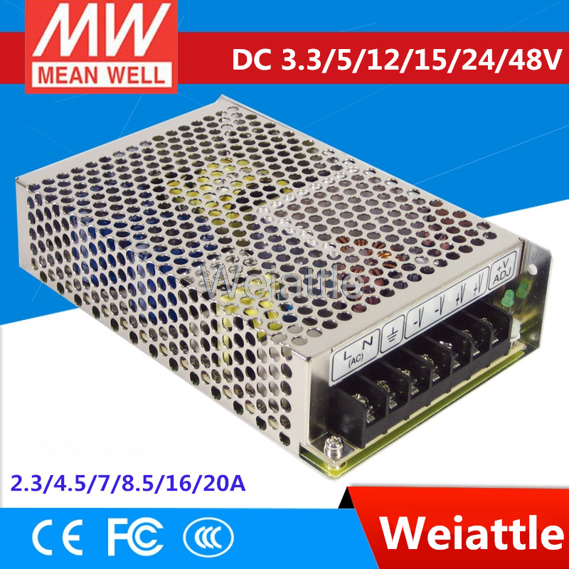 3.3V 5V 12V 15V 24V 48V MEAN WELL 2.3/4.5/7/8.5/16/20A Single Output Switching Power Supply 66W 80W 102W 105W 108 110W RS-100-48 [powernex] mean well original rs 100 24 meanwell rs 100 single output switching power supply