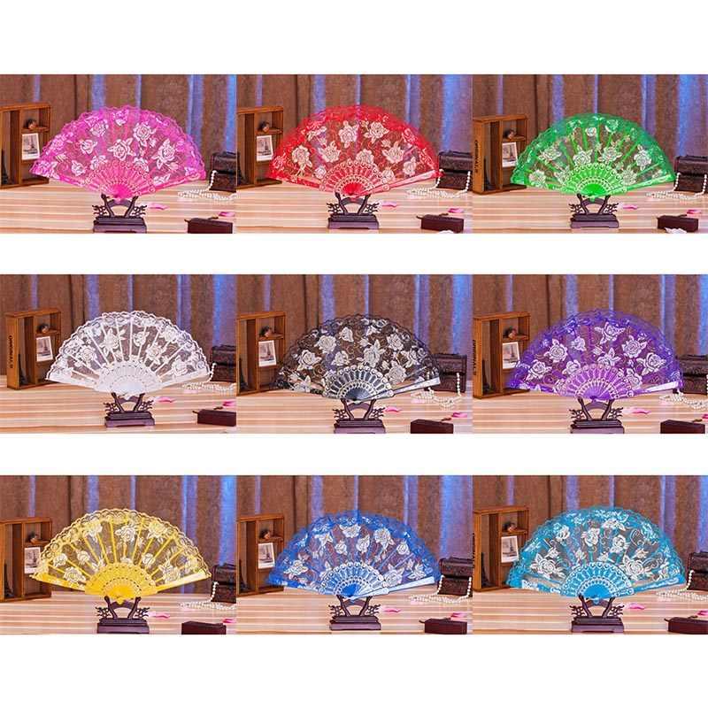 שלב אבזרי בציר סיני עץ מתקפל מאוורר עתיק כף יד גדול מושב אוהד אוהד ריקודי פרח Bronzing מאוורר עבור נשים בנות