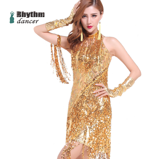 Latin Dance Costumes For Women Sequins Tassel Sexy Latino Dance Dress Gold Sleeveless Latin Dance Costumes