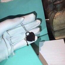 TT TN0012 925 collar de Plata de ley 1 del corazón + 1 bloqueo decir T con caja