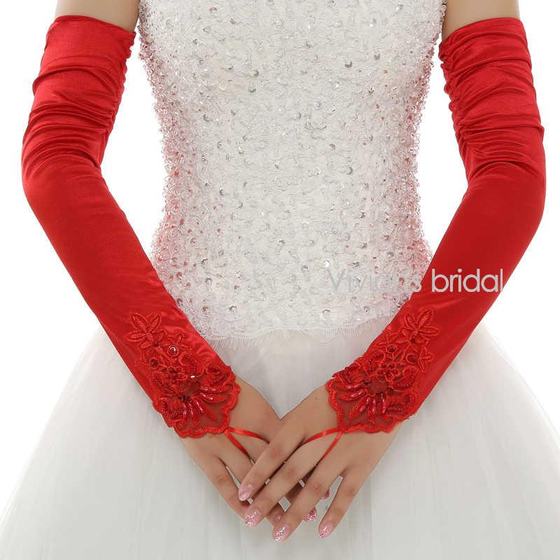ビビアンのブライダルホット販売格安ロングオペラ長さホワイト/赤指なしレースの結婚式の手袋ウェディングアクセサリーについて WG22