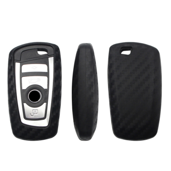 Soft Car Key Case Cover For BMW 520 525 730li 740 118 320i 1 3 5 7 Series X3 X4 M3 M4 M5 Carbon Fiber Pattern Key Shell Holder image