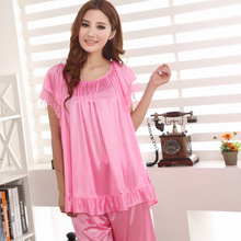 2015 Summer style silk pajama top fashion women lace women pajamas tracksuit has five colors, free home delivery
