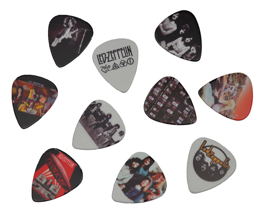 Lots of 10Pcs Rock Band Led Zeppelin 2 sides printing Guitar Picks Plectrums Medium 0.71mm