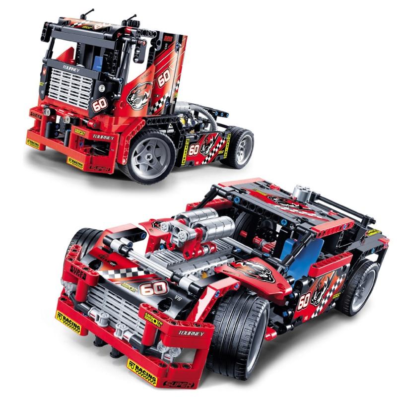 608pcs Technic Race Truck Car 2 In 1 Transformable Model Building Block Bricks Sets 3360 DIY Toys Compatible with Legoe 42041 608pcs race truck car 2 in 1 transformable model building block bricks sets decool 3360 diy toys compatible with legoings 42041