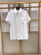 Women Shirt 2019 Summer New Edging Lapel Single Pocket Silk Short-sleeved Shirt flower print single pocket shirt