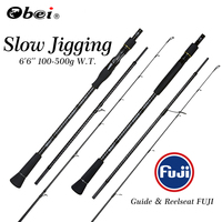 OBEI Slow Jigging Sea Fishing Rod Power Boat 1.98m Casting Weight 100 500g Spinning Baitcast 3 Section Portable Travel Rod