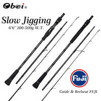 OBEI Slow Jigging Sea Fishing Rod Power Boat 1.98m Casting Weight 100-500g Spinning Baitcast 3 Section Portable Travel Rod