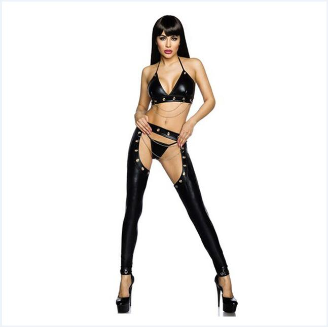 Women Sexy Faux Leather Erotic Lingerie Bra and Open Croth Pants G-string Set
