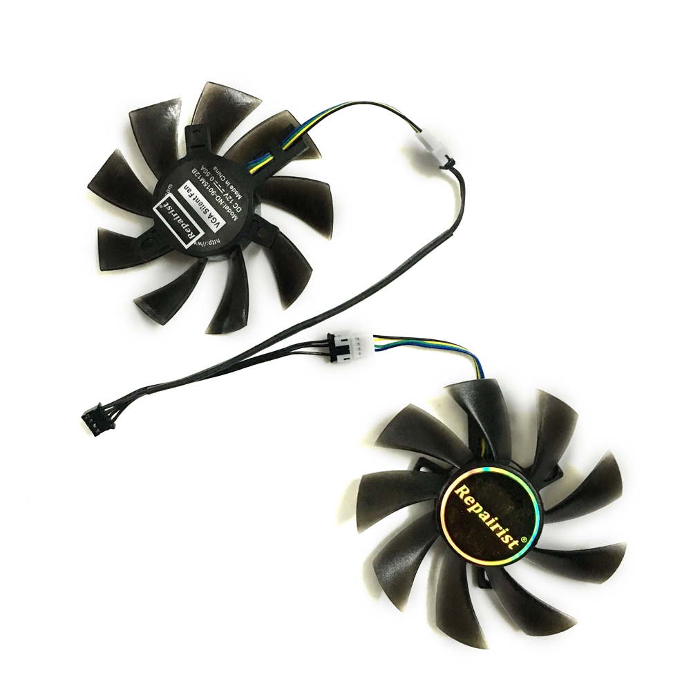 2x gpu fans VGA Cooler rx470 graphics card Fan as Replacement For Gigabyte RX480 Video Card RX 480/470 Cooling 2pcs lot computer radiator cooler fans rx470 video card cooling fan for msi rx570 rx 470 gaming 8g gpu graphics card cooling