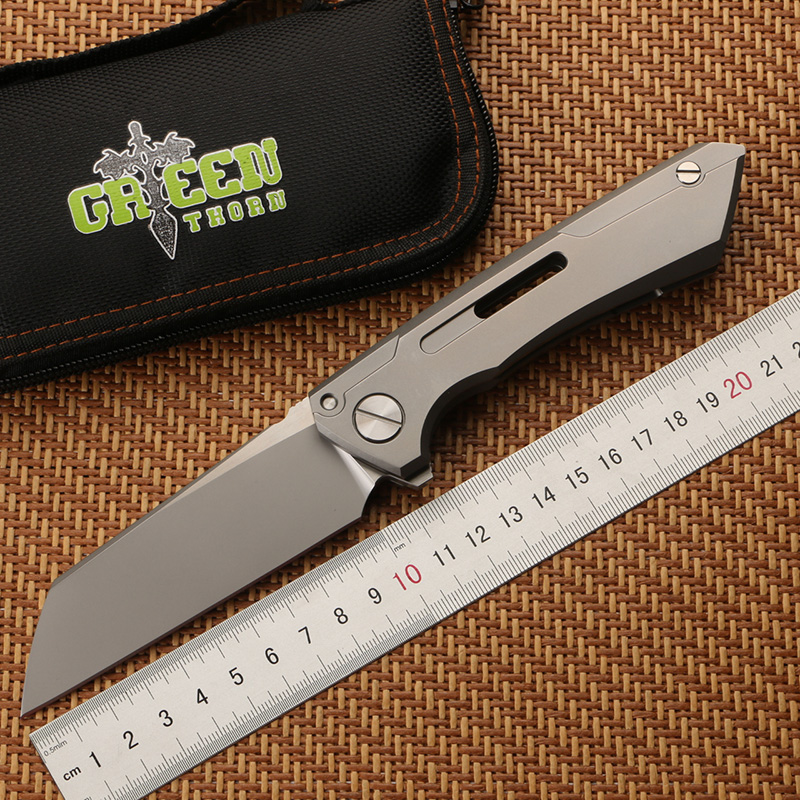 Green thorn SNECX BUSTER folding knife M390 blade TC4 titanium handle Copper gasket outdoor camping utility
