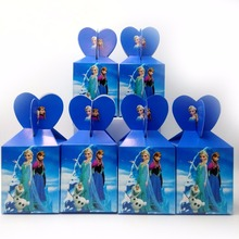 6pcs/set  frozen Anna And Elsa Princess Paper candy Box Kids Birthday Baby Shower Theme Party Supply Festival Girl