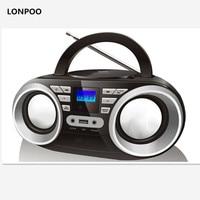 LONPOO New CD Player MP3 Speaker Mini Portable Bluetooth Speaker Multimedia USB FM Radio Wireless Stereo Bluetooth Boombox