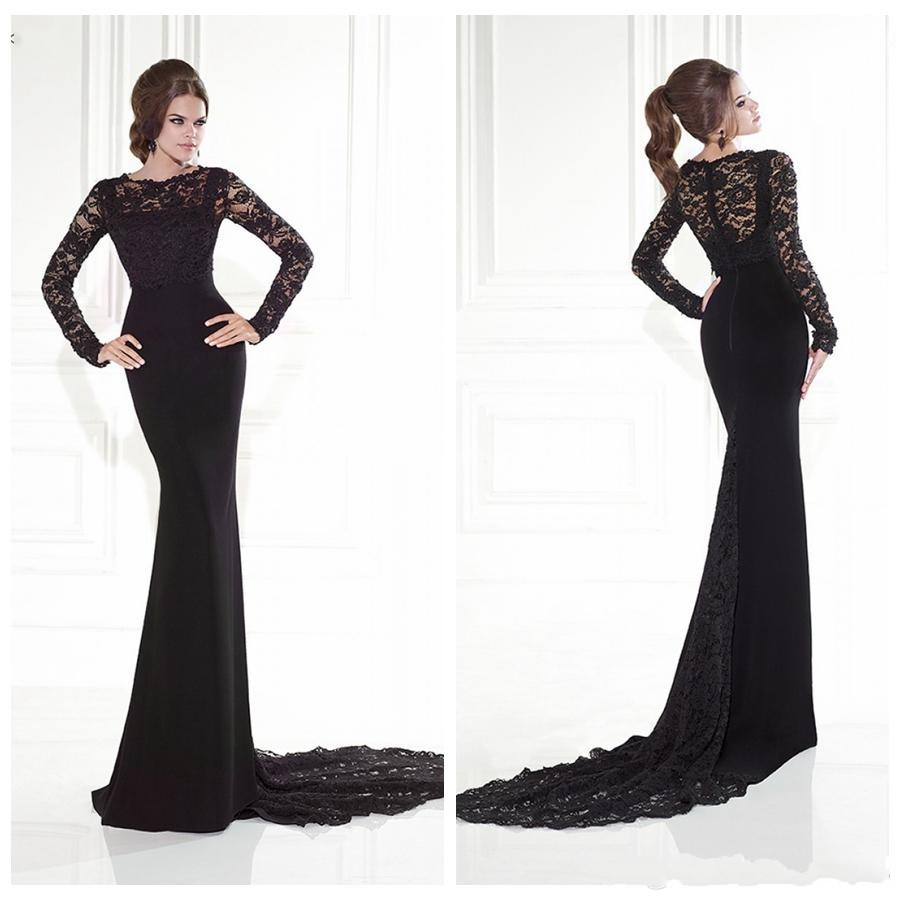Long sleeve fitted evening dress