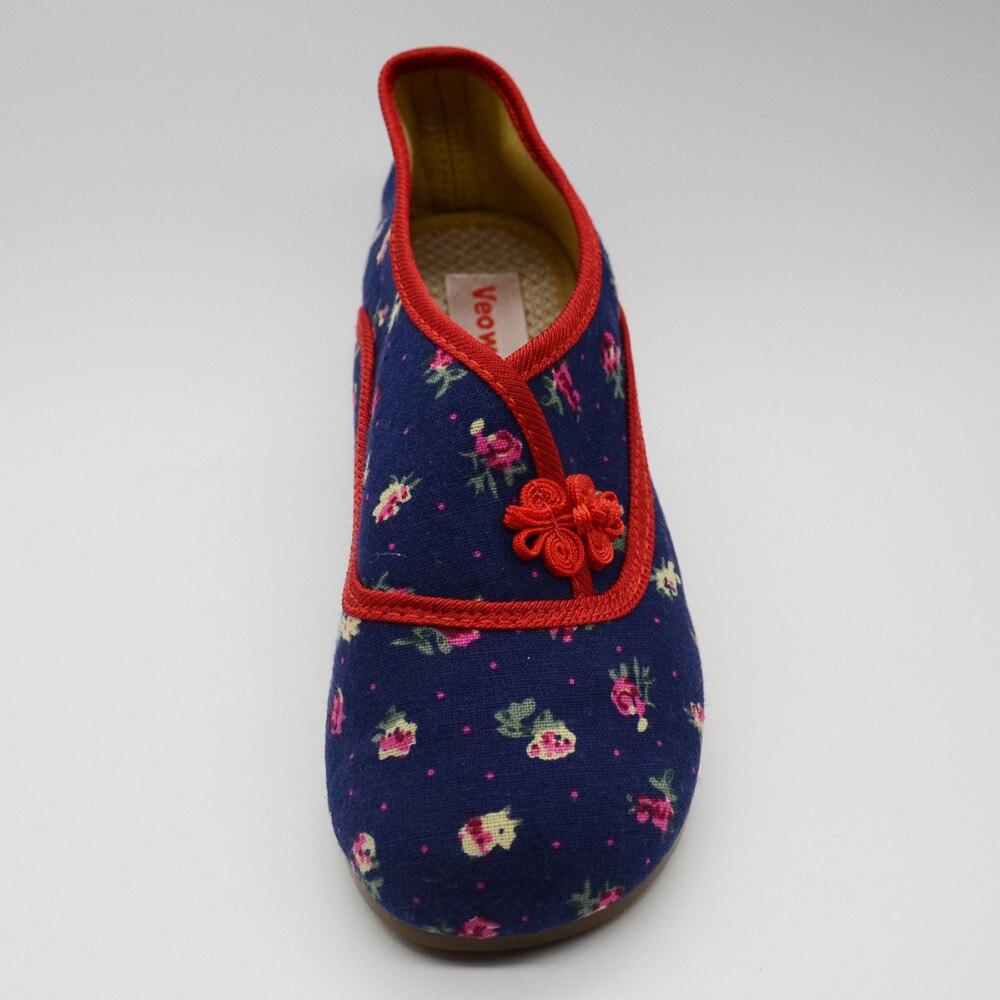 Suerte Elegante verde Femme Ballet Casual Pisos Lona Vintage Azul Chino Mujeres rojo Zapatos Confort Floral Algodón Nudo Damas Ballerine 8Snqfd