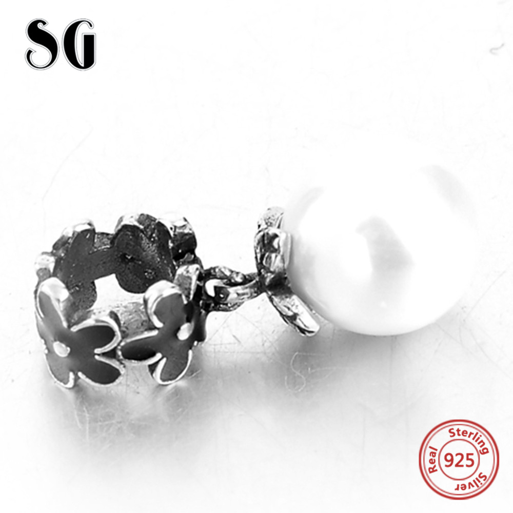 925 Sterling Silver Black Flower With Pearl Pendant Fit Authentic pandora Charms Bracelet Beads For Women Fashion DIY Jewelry in Beads from Jewelry Accessories