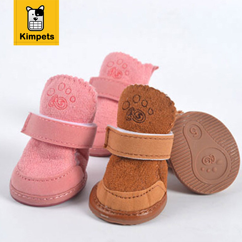 Dog Shoes: 4pcs/set Non-slip Shoes Dogs Cotton Shoes Waterproof Warm Winter Dog Shoes Teddy Pet Thick Soft Bottom Snow Boots for Small Dog