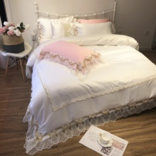 Luxury Princess Style White Pink Blue Purple Washed Silk Cotton Wedding Bedding Set Lace Duvet Cover Bed sheet/Linen Pillowcases