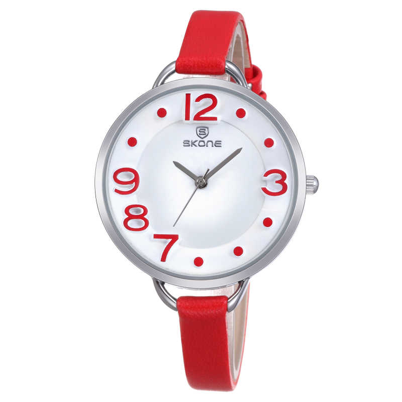 SKONE mujer fecha Roma plata funda cuero Correa relojes señora moda Casual mujeres reloj horas analógica cuarzo reloj femenino