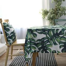 Hojas verdes Rectangulares Manteles de Algodón Poliéster Cubierta De Tabla Impermeable Mesa Rectangular De Tela Moderna Marca de Hojas Verdes