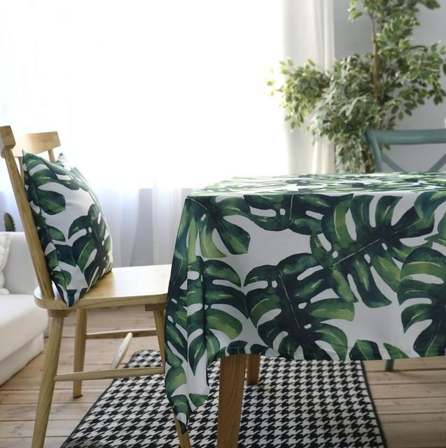 Green Leaves Rectangular Tablecloths Polyester Cotton Waterproof Table Cover Modern Brand Green Leaves Rectangular Table Cloth