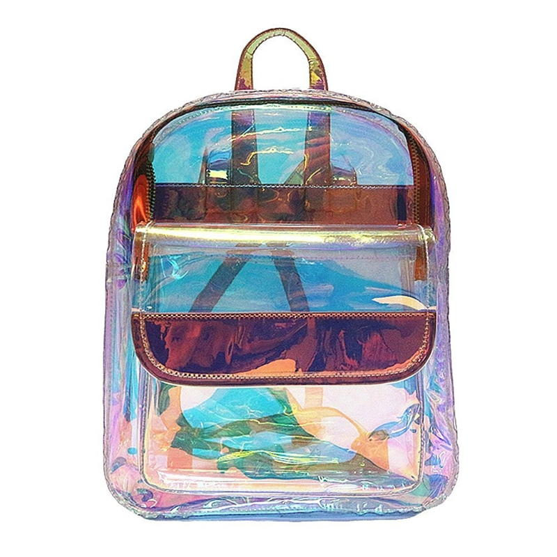 THINKTHENDO Women Girls Transparent Laser Small Backpack Clear PVC School Book Bag 2018 New Fashion Girl Mini Bookbag