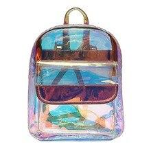 897fb66f9e89 THINKTHENDO Для женщин девочек прозрачные лазерной небольшой рюкзак ясно  ПВХ Школа Книга сумка 2018 новая модная одежда для дево.