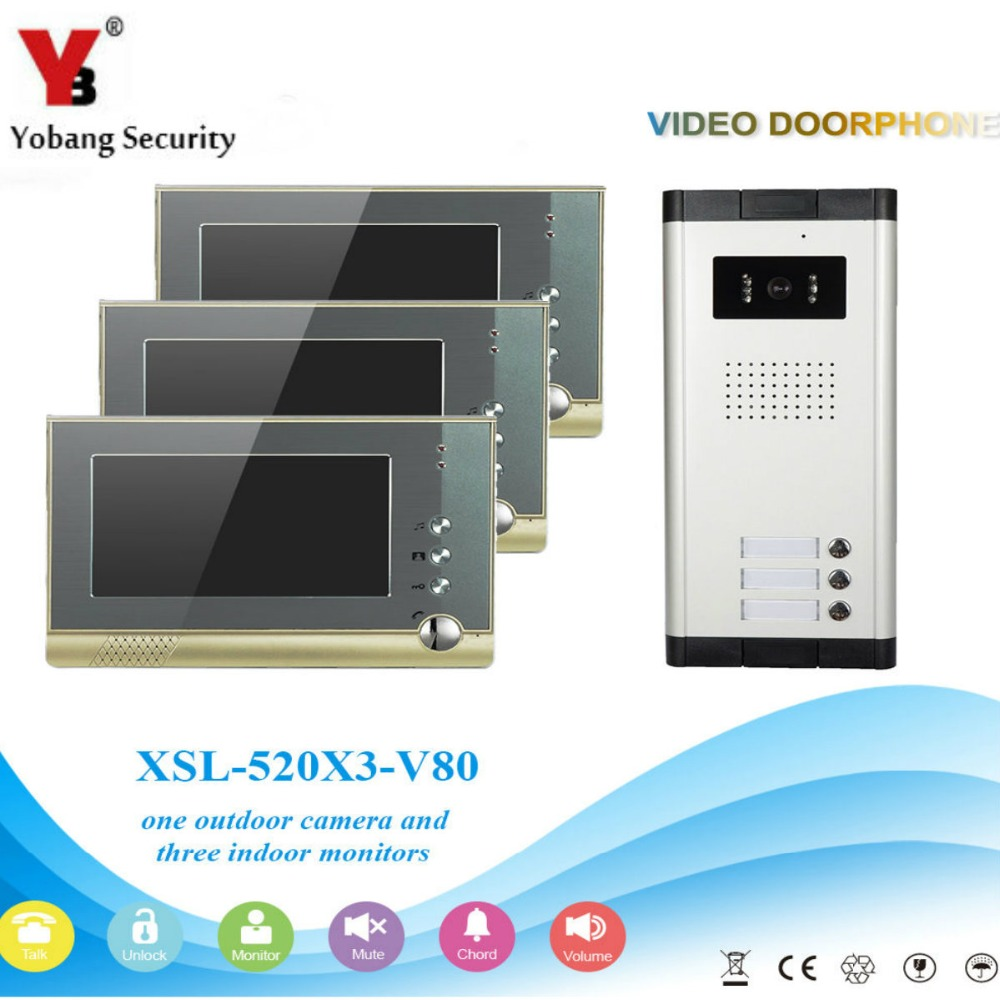 IR Night Vision for Villa Apartment Eye Door bell 7″TFT LCD Color Video Door Phone Doorbell Intercom System 1 Camera 3 Monitor