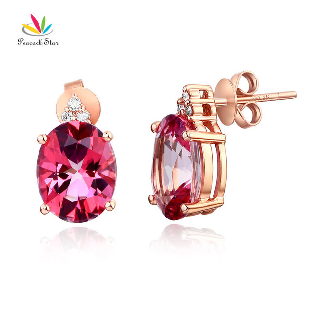 Pea Star 14k Rose Gold 3 5 Ct Oval Pink Topaz Earrings 0 07ct Natural Diamonds