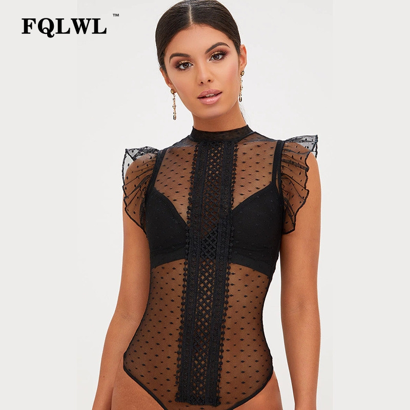 FQLWL Transparent Lace Bodysuit Sexy Top Body Femme Patchwork Bodycon Summer   Jumpsuit   Ruffle Sleeve Mesh Bodysuit Women Romper