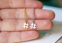 alphabet Trendy Symbol # Necklaces Typography Letter pendant Necklace small name Hashtag Simple Initial Sign jewelry