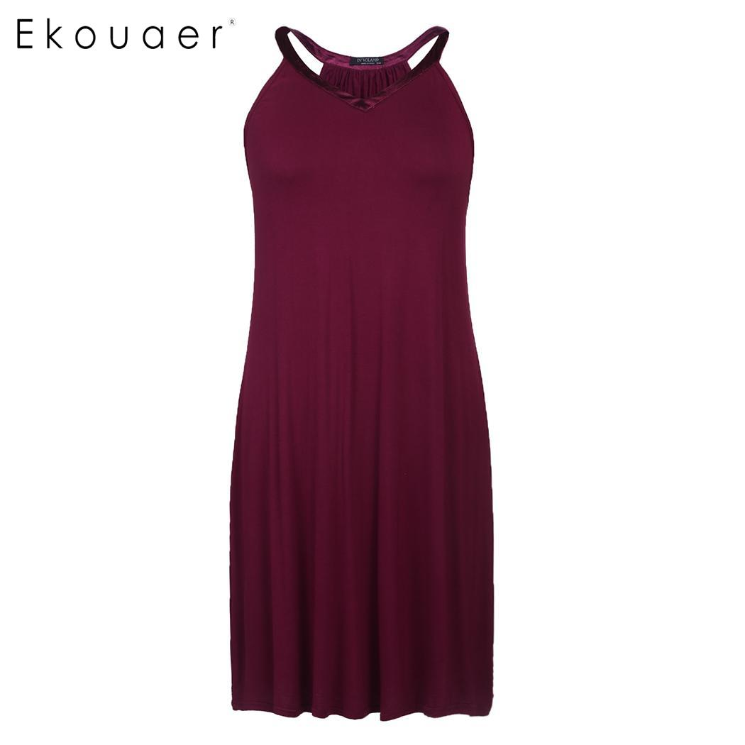 Ekouaer Women Summer Sexy Nightie Sleepwear Plus Size Nightgown Solid V-Neck Sleeveless Slip Night Dress Female Home Clothing