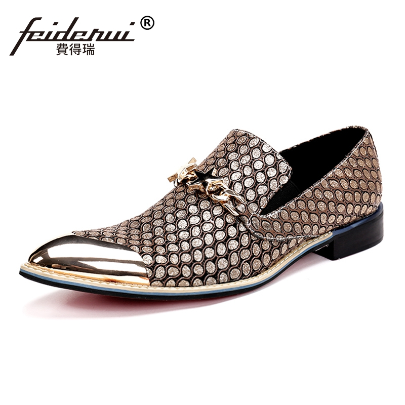 Plus Size Gold Pointed Toe Slip on Man Loafers Luxury Genuine Leather Height Increasing Wedding Party Men's Runway Shoes SL11 plus size pointed toe slip on man glitter punk loafers luxury genuine leather studded wedding party men s runway shoes sl31