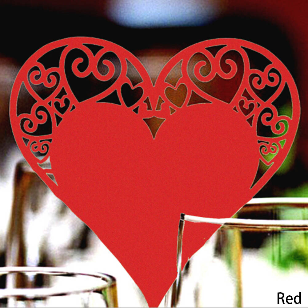 50pcs/set Wedding Table Decoration Place Cards Laser Cut Heart Floral Wine Glass Place Cards For Wedding Party Decoration