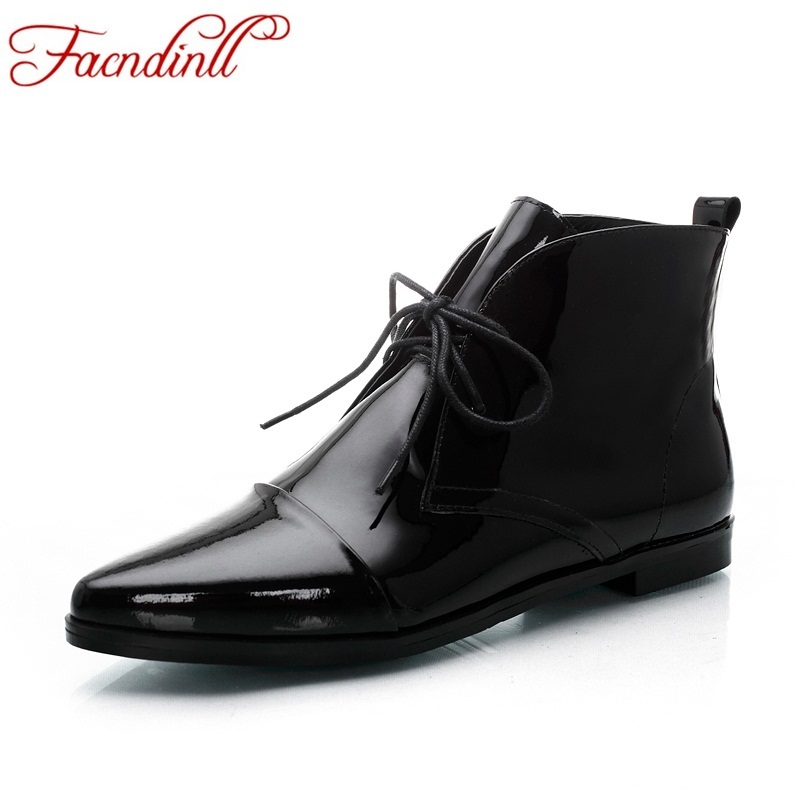 New 2018 sexy women boots fashion platform flat heels black patent leather ankle boots for woman party casual ladies shoes boots hee grand solid patent leather women oxfords british new fashion platform flats casual buckle strap ladies shoes woman xwd5833